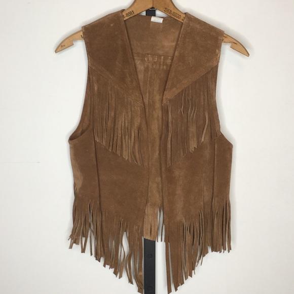 7e31a576e Vintage 70s Suede Leather Fringe Boho Hippie Vest